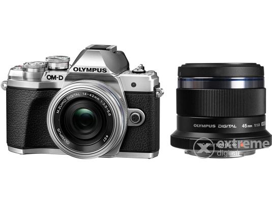497925523275 Olympus OM-D E-M10 Mark III fényképezőgép kit (14-42 II R + 40-150 R  objektívvel), ezüst + Olympus Zuiko 45/F1.8 objektí