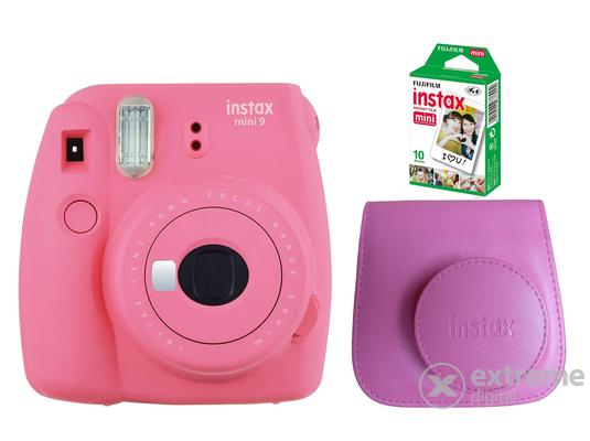 Fujifilm Instax Mini 9 analóg fényképezőgép, flamingo pink + tok + 10db film