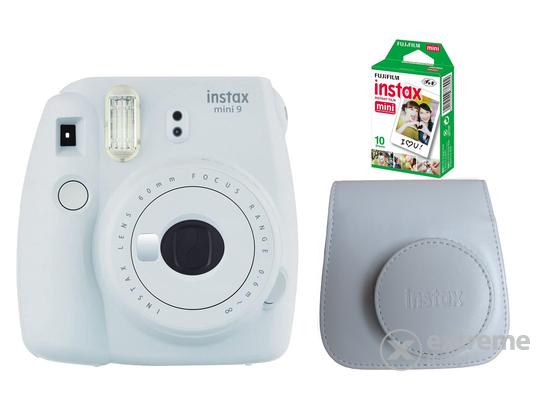 Fujifilm Instax Mini 9 analóg fényképezőgép, smoky white + tok + 10 db film