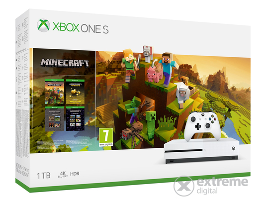 Microsoft Xbox One S 1TB Minecraft Master Collection játékkonzol