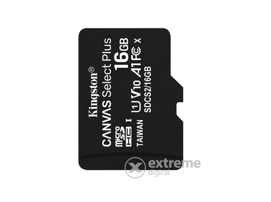 Kingston Canvas Select Plus 16GB MicroSDHC memóriakártya, Class 10