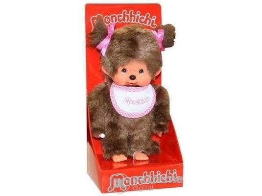 Monchhichi, dievča, ružové, 20cm